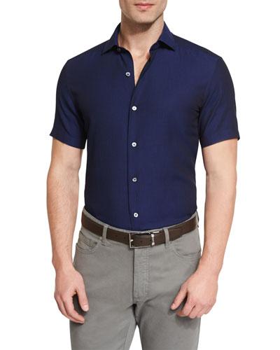 Solid Short-Sleeve Sport Shirt, Navy