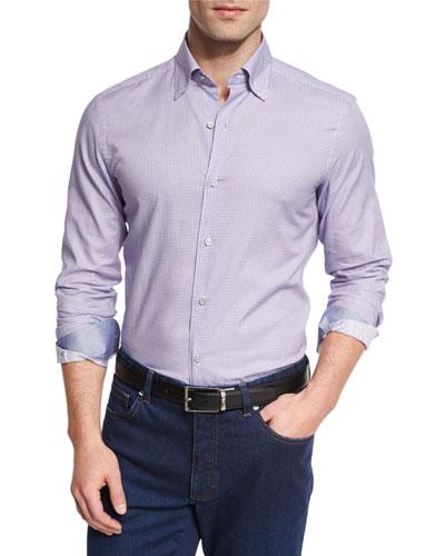 Pill-Print Long-Sleeve Sport Shirt, Purple