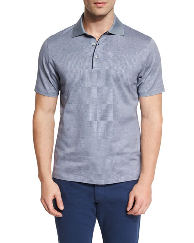 Basketweave-Pattern Short-Sleeve Polo Shirt, Navy