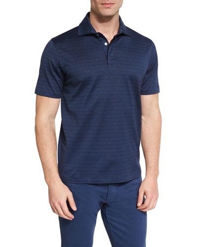 Blocked-Stripe Short-Sleeve Polo Shirt, Navy
