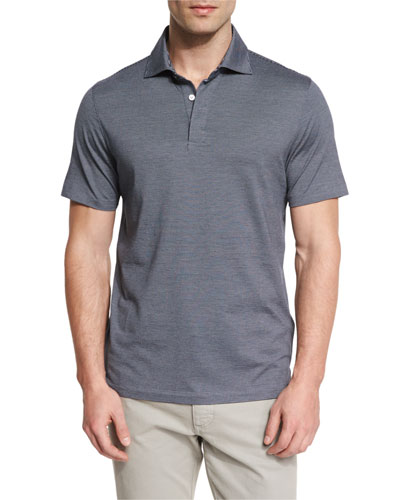 Micro-Striped Cotton-Blend Short-Sleeve Polo Shirt, Navy