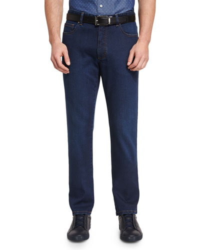 Five-Pocket Regular-Fit Stretch-Denim Jeans, Blue