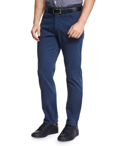 Five-Pocket Stretch-Cotton Pants, American Navy Blue