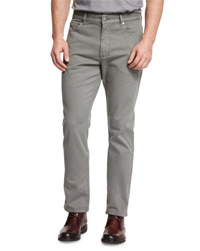 Five-Pocket Stretch-Cotton Pants, Green