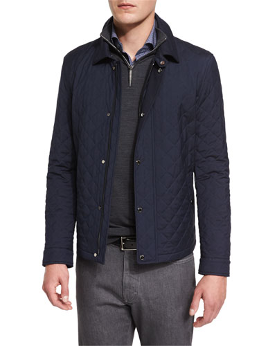 Quilted Wool-Blend Field Jacket, Navy