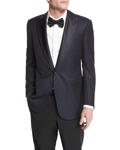 G-Line Jacquard Satin-Lapel Evening Jacket, Black/Navy