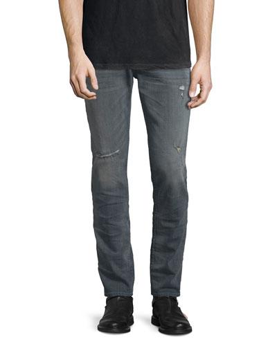 Sartor Wreckage Slouchy Skinny-Leg Denim Jeans, Medium Gray