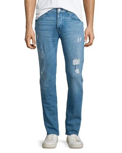 Sartor Raw Skinny-Leg Denim Jeans, Blue