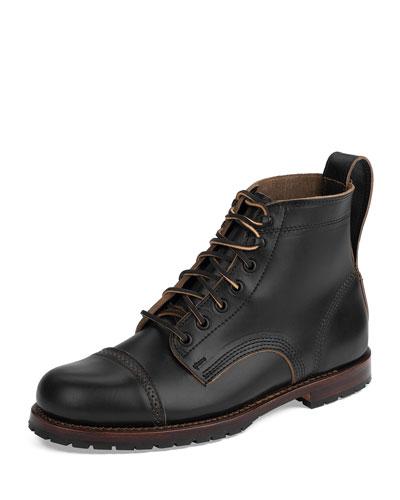 Monroe USA Cap-Toe Leather Boot, Black