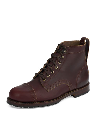 Monroe USA Cap-Toe Leather Boot, Russet