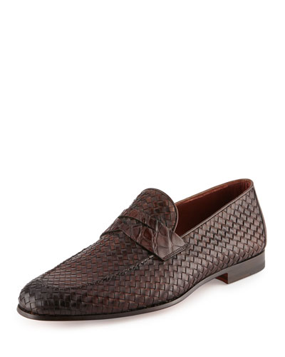 Woven Leather & Alligator Penny Loafer, Brown