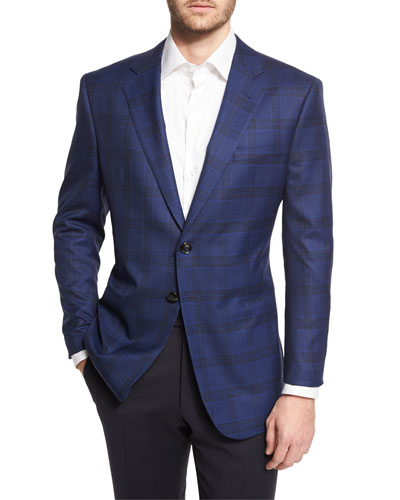Plaid Two-Button Wool Jacket, Navy
