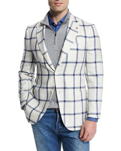 Windowpane Two-Button Silk-Blend Jacket, White/Blue