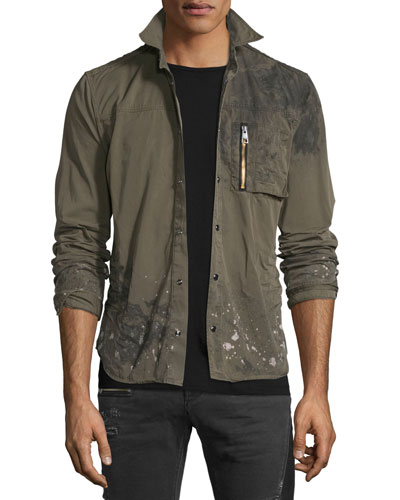 Distressed Long-Sleeve Military Shirt Jacket, Olive