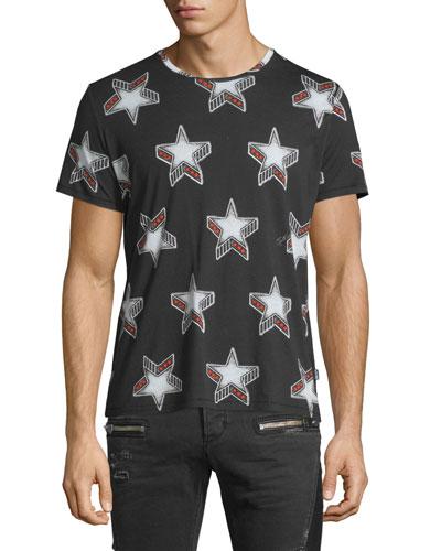 Stardust-Print Short-Sleeve Tee, Black Pattern