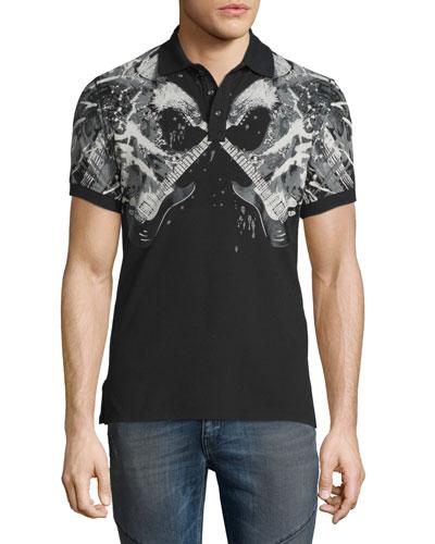 Bald Eagle & Guitar Graphic Polo Shirt, Medium Gray