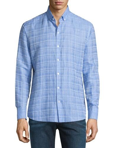 Tobias Plaid Linen-Blend Long-Sleeve Sport Shirt, Light Blue