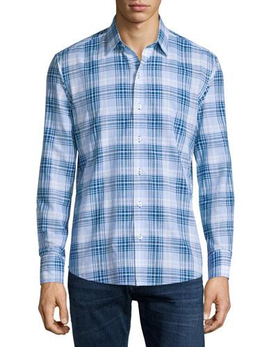 DD Plaid Long-Sleeve Sport Shirt, Blue