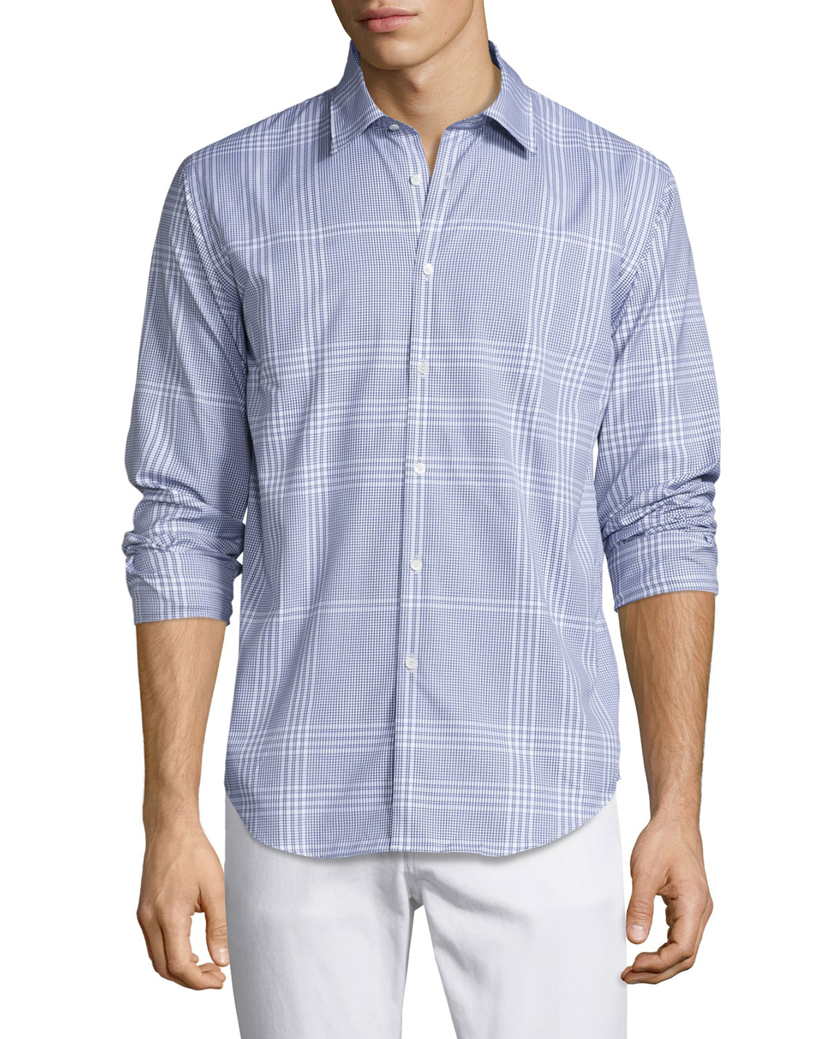 Modern-Fit Point Check Sport Shirt, Bright Navy