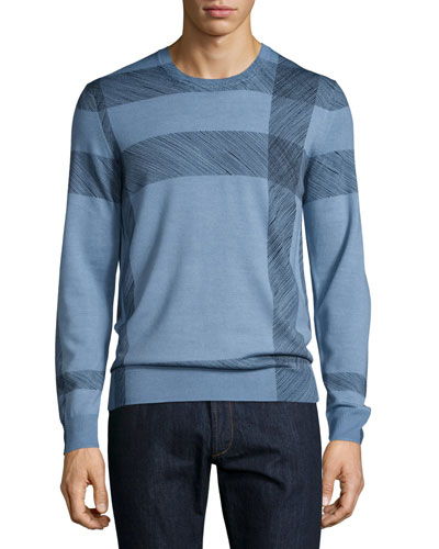 Abstract Check Merino Wool Sweater, Light Blue