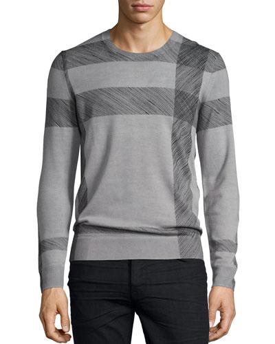 Abstract Check Merino Wool Sweater, Light Gray Melange