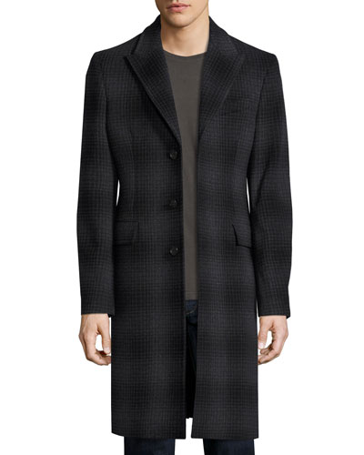 Tailored Check Wool-Cashmere Coat, Charcoal Melange