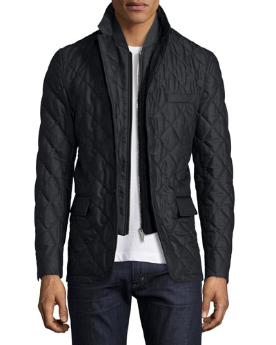 Quilted Wool Jacket w/Detachable Warmer, Charcoal