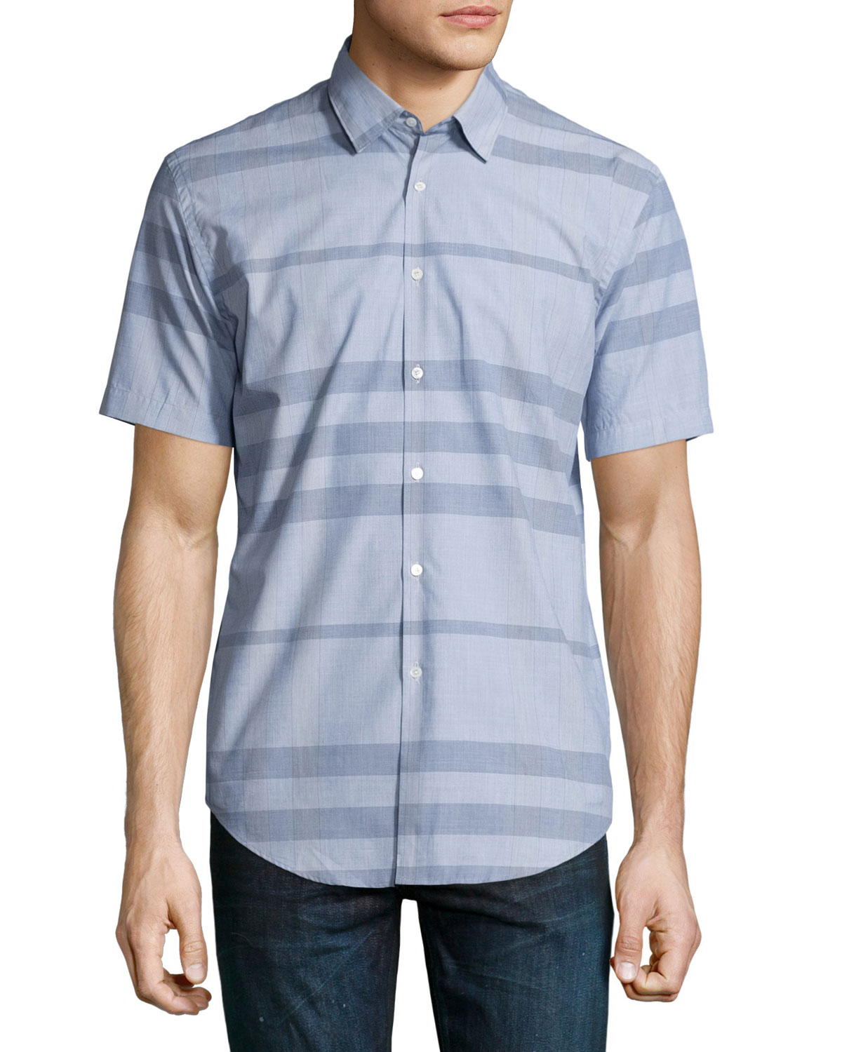 Modern Point Striped Short-Sleeve Sport Shirt, Light Blue