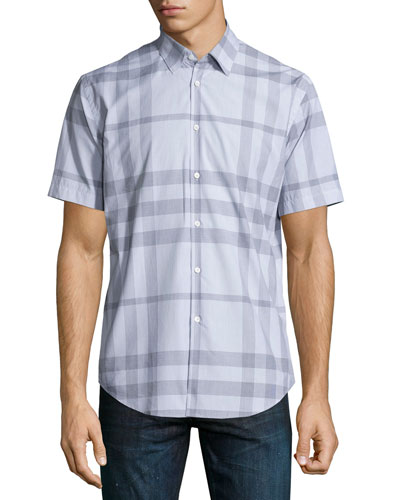 Modern Point Exploded Check Short-Sleeve Sport Shirt, Pale Gray