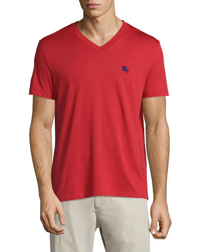 Lindon Cotton V-Neck T-Shirt, Red