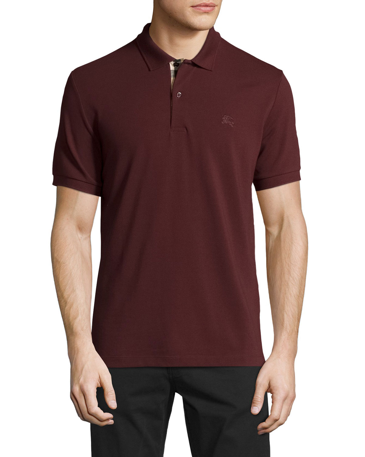 Check-Placket Piqué Polo Shirt, Deep Claret