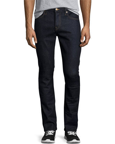 Japanese Selvedge Straight-Leg Stretch-Denim Jeans, Indigo