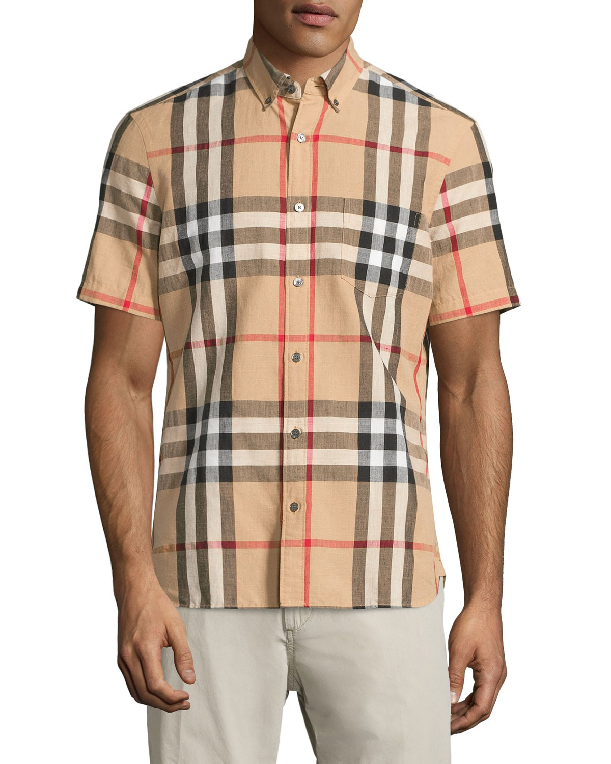 Linen-Blend Exploded Check Short-Sleeve Shirt, Camel