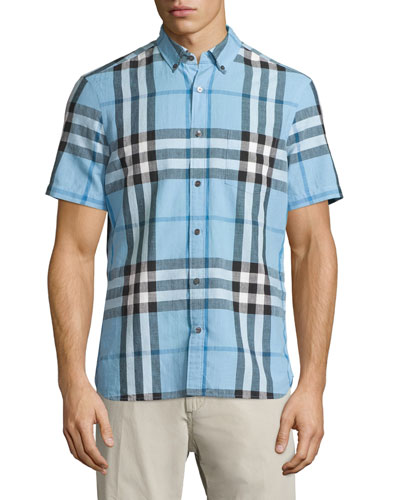 Linen-Blend Exploded Check Short-Sleeve Shirt, Pale Blue