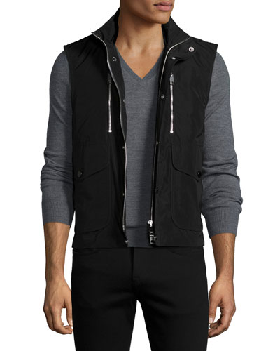 Moto Front-Zip Vest, Black