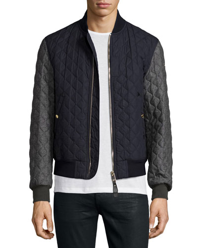 Colorblock Quilted Bomber Jacket, Navy