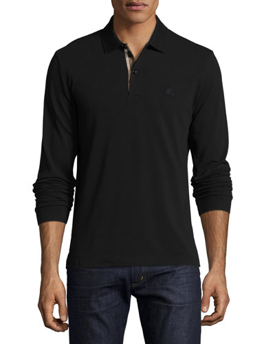 Long-Sleeve Oxford Polo Shirt, Black