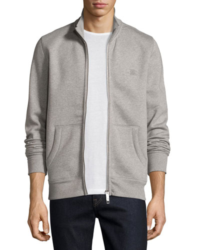 Sheltone Front-Zip Sweatshirt, Pale Gray Melange