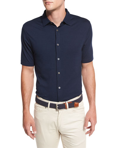 Collection Perfect Piqué Short-Sleeve Shirt, Blue