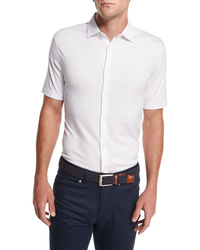 Collection Perfect Piqué Short-Sleeve Shirt, White