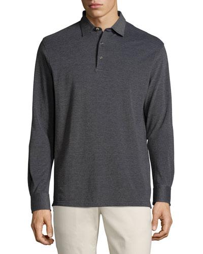 Oxford Long-Sleeve Polo Shirt, Starlight Blue