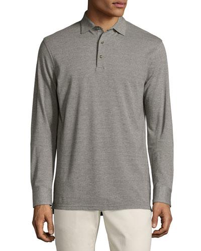 Oxford Long-Sleeve Polo Shirt, Argento