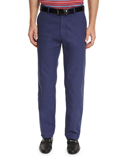 Lightweight Twill Flat-Front Pants, Navy