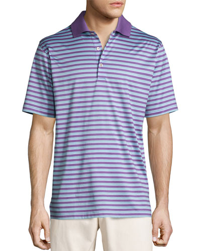 Gabby Striped Cotton Lisle Polo Shirt