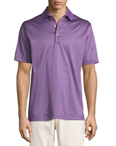 Striped Cotton Lisle Polo Shirt, Purple