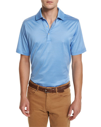 Striped Cotton Lisle Polo Shirt, Blue