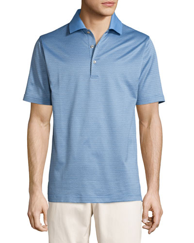 Ophelia Jacquard Cotton Lisle Polo Shirt, Blue