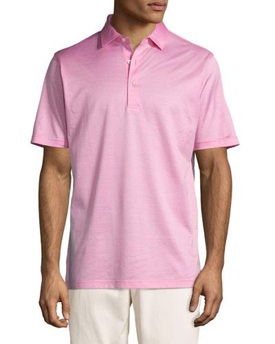 Fran Jacquard Cotton Lisle Polo Shirt, Pink