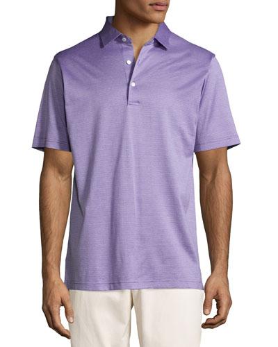 Fran Jacquard Cotton Lisle Polo Shirt, Purple