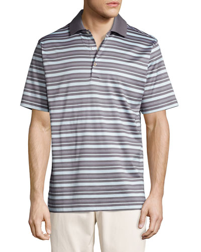 Sandy Striped Cotton Lisle Polo Shirt, Gray/Mint
